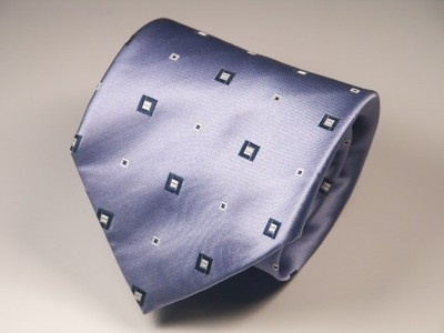 Henry Jacobson MEN'S SILK NECK TIE in cornflower blue satiny silk -- superb!