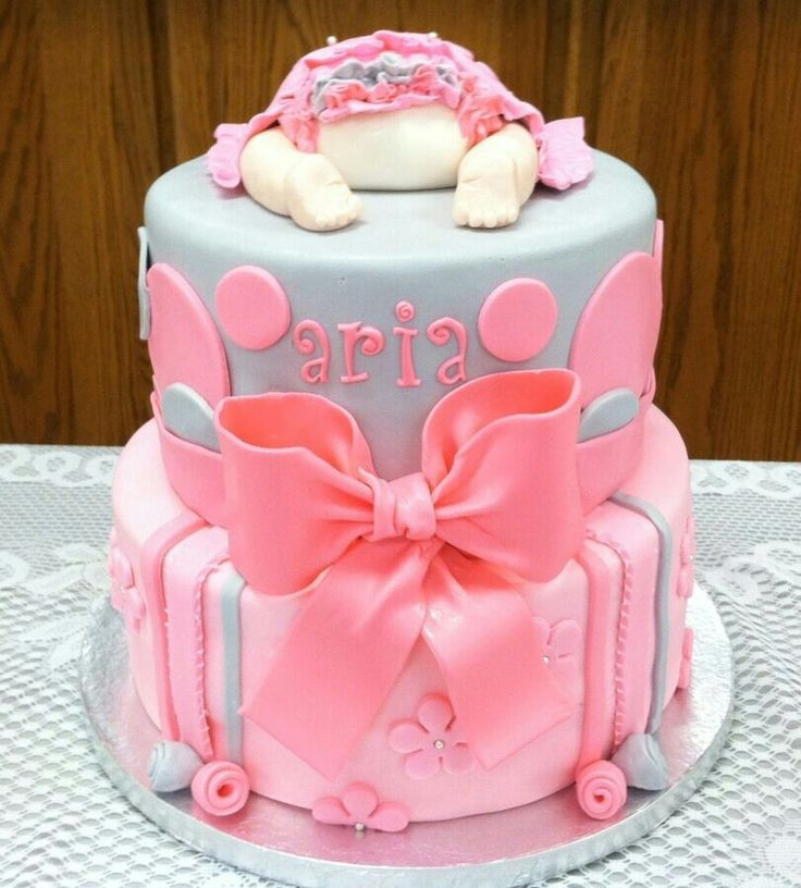 pink and grey baby shower cake isla pinterest