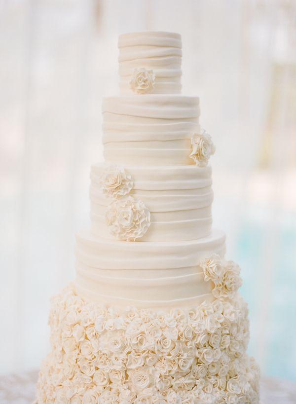 White Ruffle Amp Rose Wedding Cake