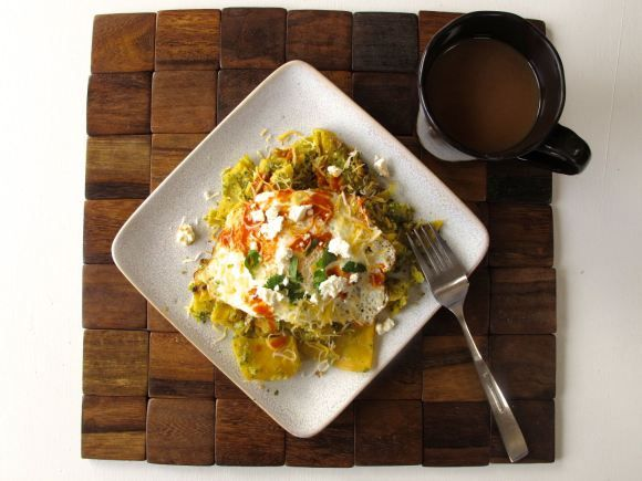 Chilaquiles Verdes with Roasted Tomatillo Salsa, Queso Fresco, and a ...