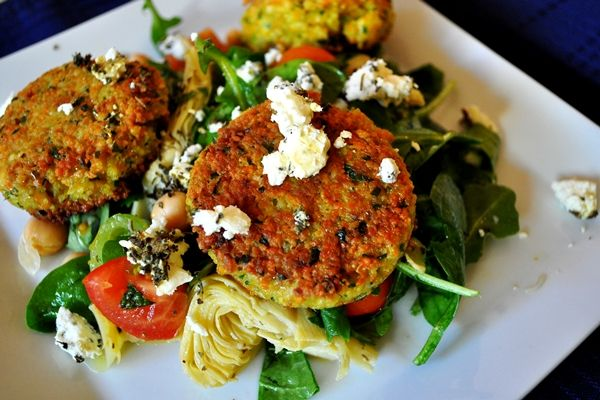 Spinach Salad with Couscous Cakes | She Knows dinners | Pinterest