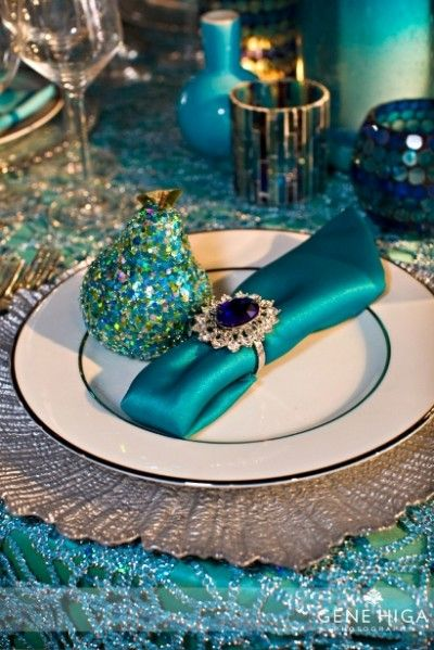 peacock blue table setting