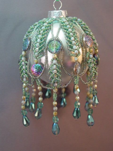 Caterwalls Beaded Christmas Ornament Cover by TheOrnamentalLady