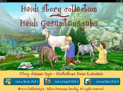 This story collection contains the three single apps 'Heidi on the alp', 'Heidi in Frankfurt' and 'Heidi and Klara'.