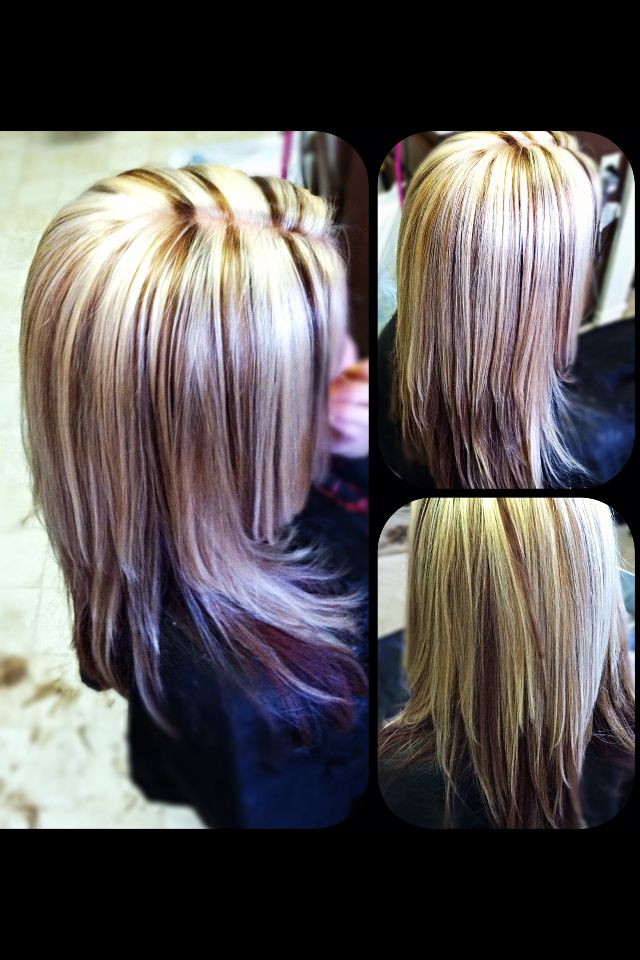 Platinum blonde highlights red brown hair color under neath brown low ...