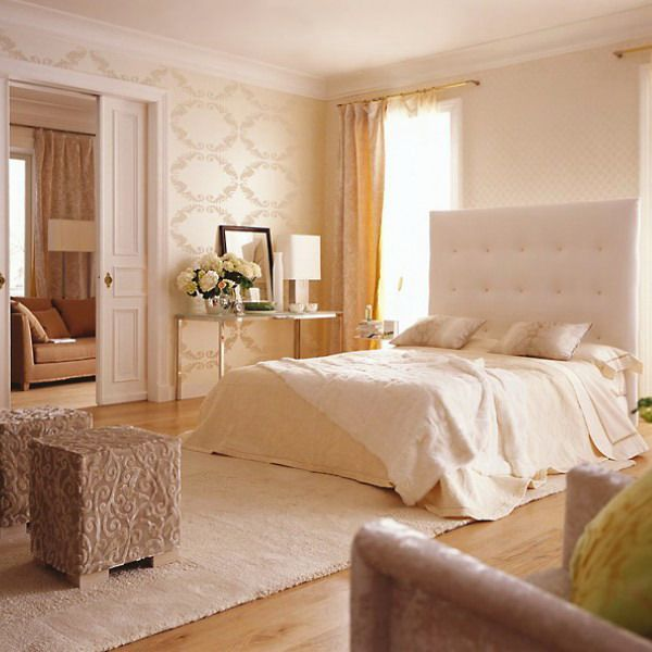 elegant bedroom in beige color