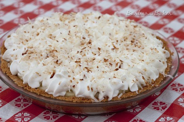 Coconut cream pie with coconut cookie crust. TO DIE FOR.