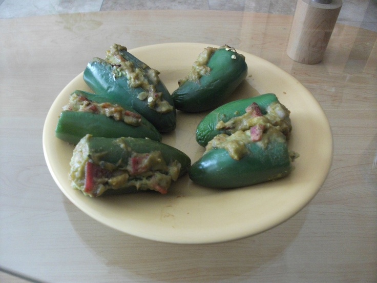 jalapeno peppers, stuffed with guacamole and bacon! My boyfriend made ...