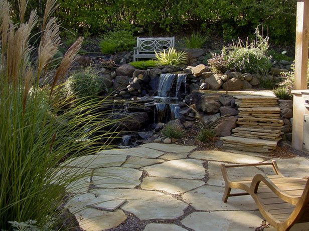 Terraced Backyard Steps : Steps to Terraced Patio Use a hillside gardens natural contour