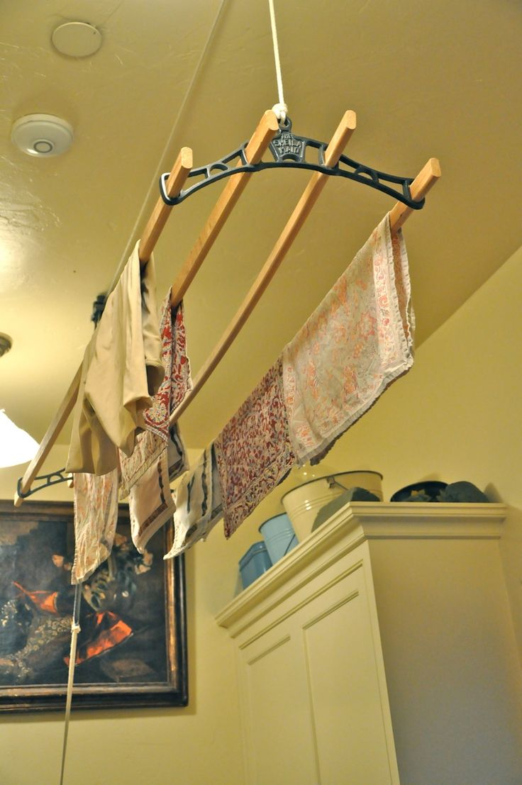 Pin by susan bivaletz on wanna do go pinterest - Hanging rack for laundry room ...