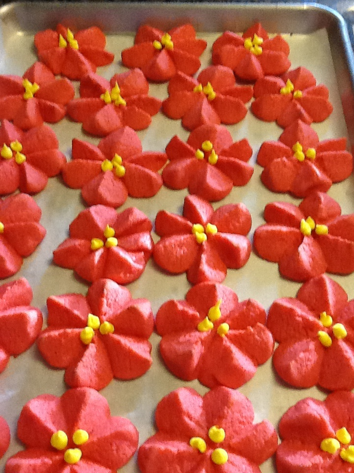 Pointsettia Christmas Cookies (made with Strawberry jello) very yummy!