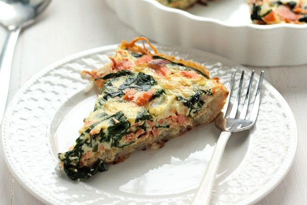 Smoked Salmon Spinach Quiche with Hash Brown Crust | Recipe
