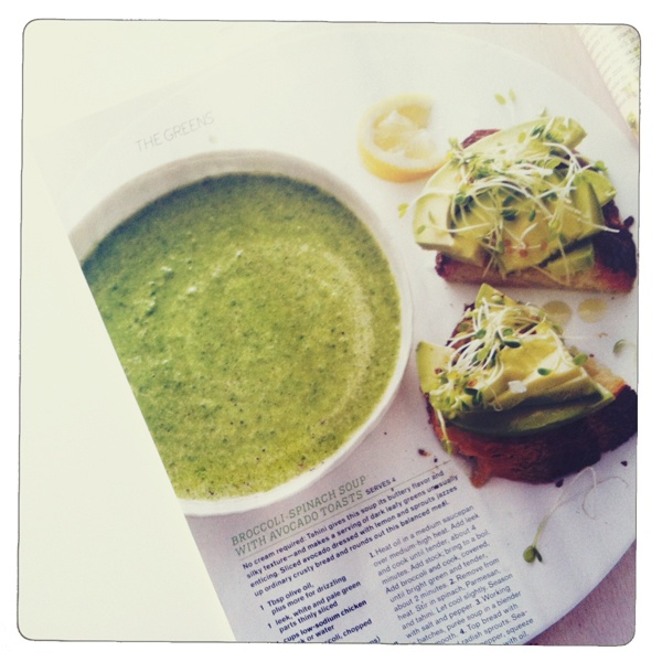 broccoli-spinach soup...good use of the emersion blender.