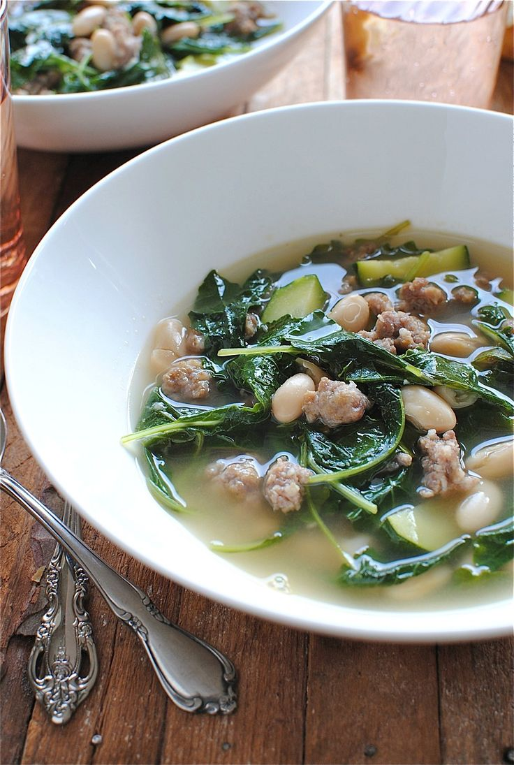 White Bean, Kale and Italian Sausage Soup / @bevcooks