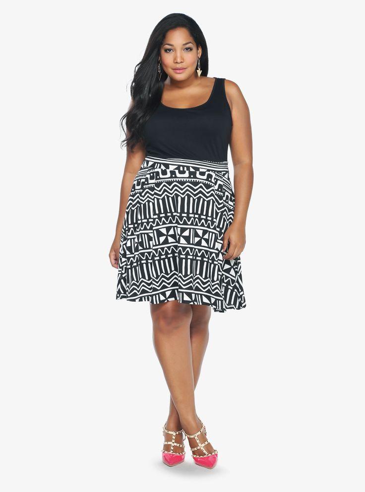 Black amp white tank dress torrid