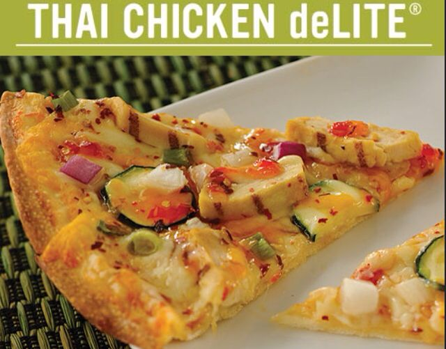 Skinny Thai Chicken Pizza-thin crust, sweet chili sauce, mozzarella ...