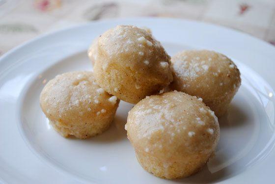 Mini Eggnog Donut Muffins - eggnog muffins with a sugary eggnog glaze