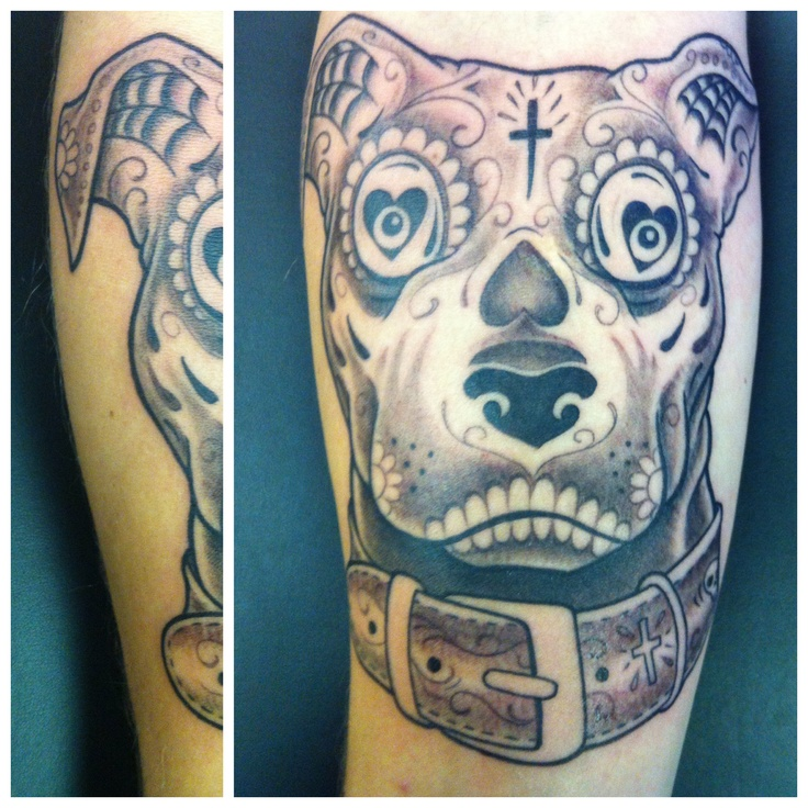 Day Of The Dead Pitbull  Tattoos Pinterest