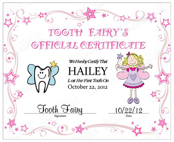 childrens personalized tooth fairy official certificate