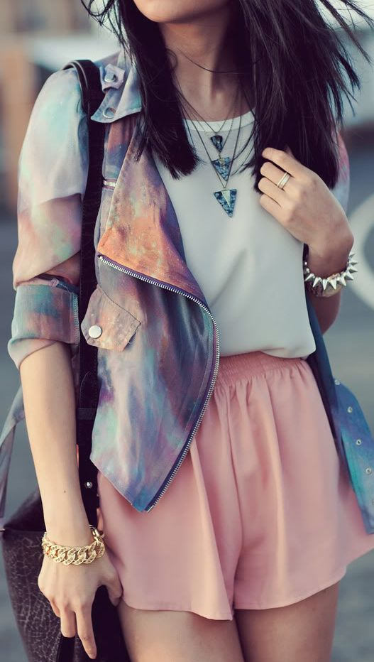 Perspective Star Motorcycle Chiffon Short Jacket…