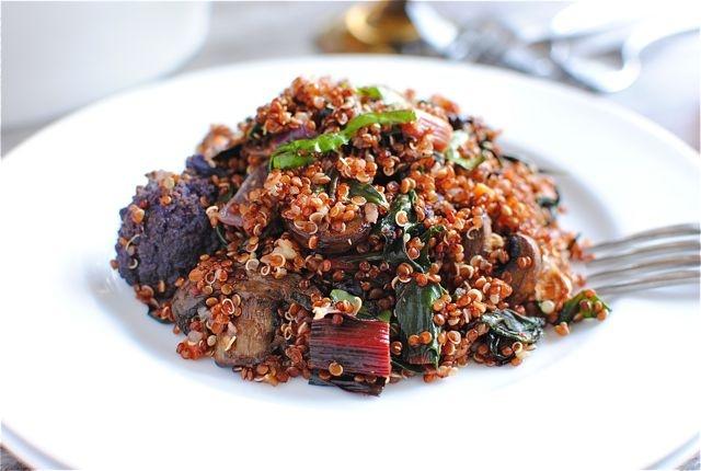 Red Quinoa with Swiss Chard, Mushrooms and Purple Cauliflower