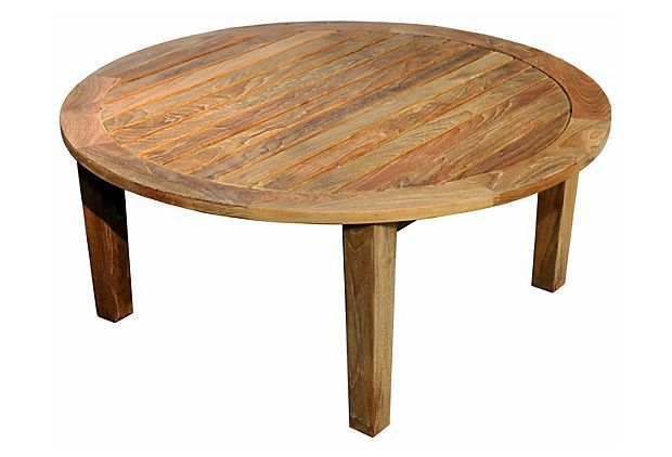 36 Teak Round Coffee Table Natural