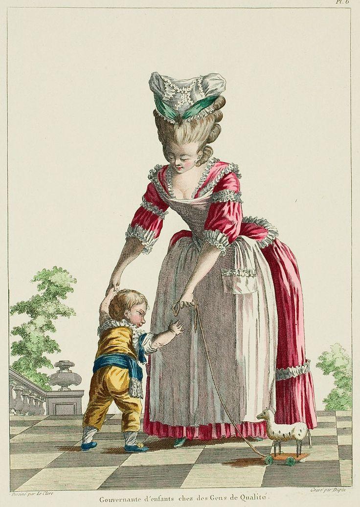 Другой характер рисунка, в платье Гувернантка ребенка в доме людей качества.  Caraco индийской тафты, с соответствием юбке, весь отделанный коробки складками из того же материала; сабо манжетой рукава, имеющего головку марли напоминающие короткие manchettes или bonshommes.
