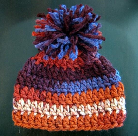 Crochet Baby Hat Pattern With Pom Pom : Crochet Hat PATTERN - Baby Chunky Pom Pom Beanie Crochet ...