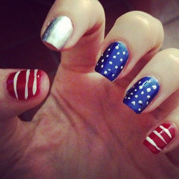 Nail design red white blue beautify themselves with sweet nails cute red white and blue nail designs cute nail color design idea prinsesfo Image collections