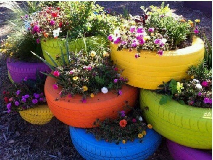 Landscaping With Tires : Good use of old tires landscaping