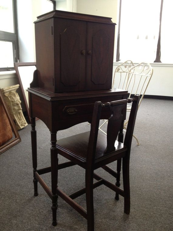 Antique Gothic Style Mahogany Telephone Table And Chair