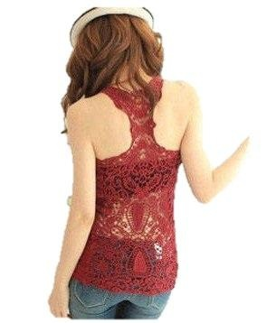 Red Cotton Tank Top w/ Embroidered Crochet Lace Back Women's Fashion