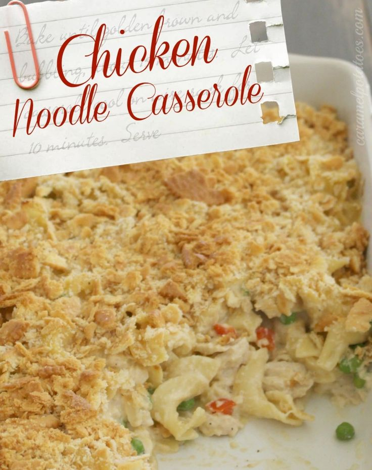 Comforting Chicken Noodle Casserole [no canned ingredients] #makeahead