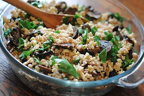 Farro Salad with Roasted Mushrooms | comida! | Pinterest