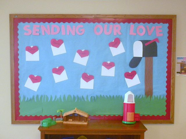 sending our love bulletin board.  Could be used with student poetry