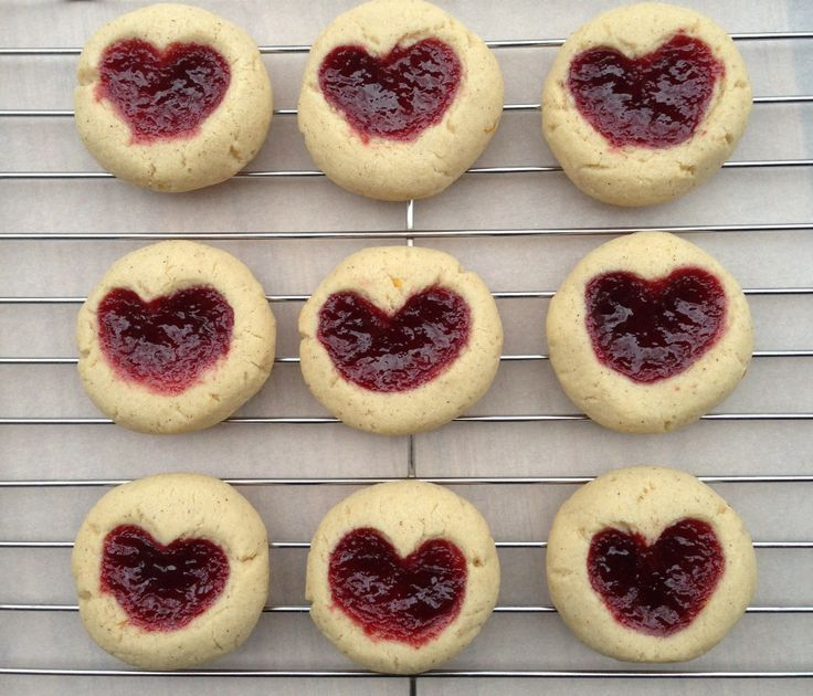 Linzer Heart Thumbprint Cookies | misc food | Pinterest
