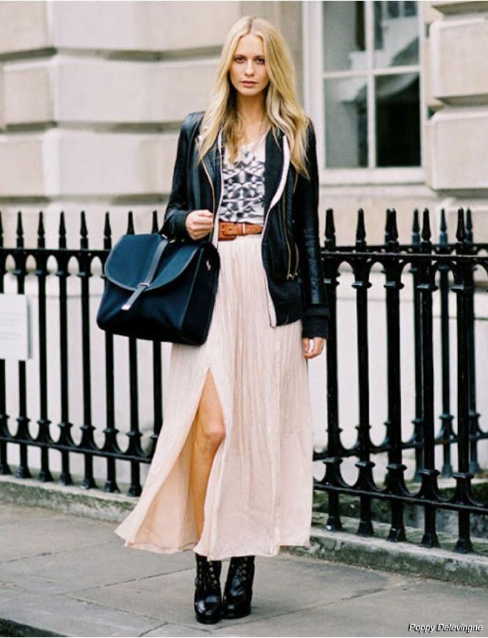leather jacket and maxi skirt everything fashion