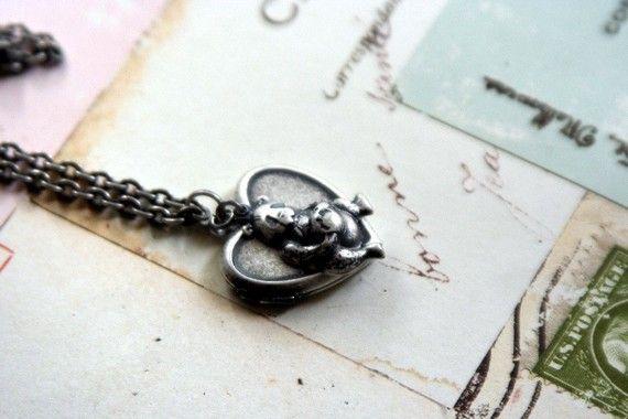 panda bear heart locket necklace