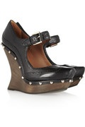 MCQ - Alexander McQueen - Studded leather and wooden wedge Mary Janes - 2012