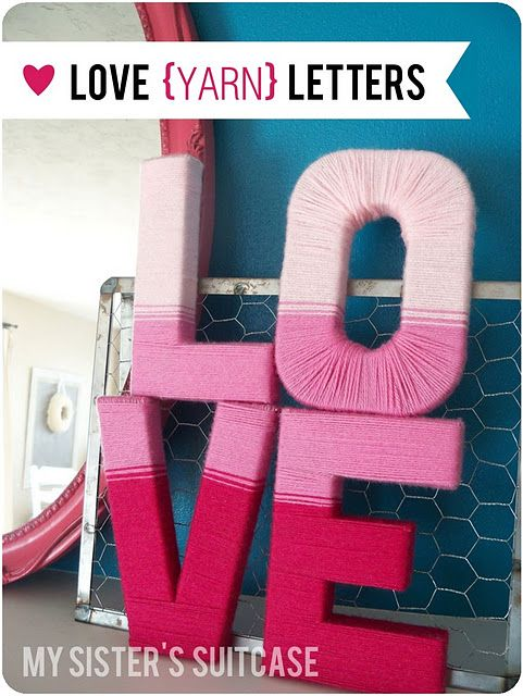 Love Letters Made out of cardboard and yarn