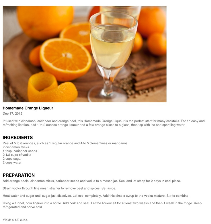 Homemade Orange Liqueur | Foodie goodies | Pinterest