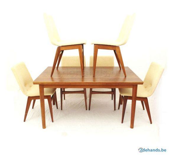 Deens Design eethoek 60 met teak uitschuifbare eettafel en zes ...