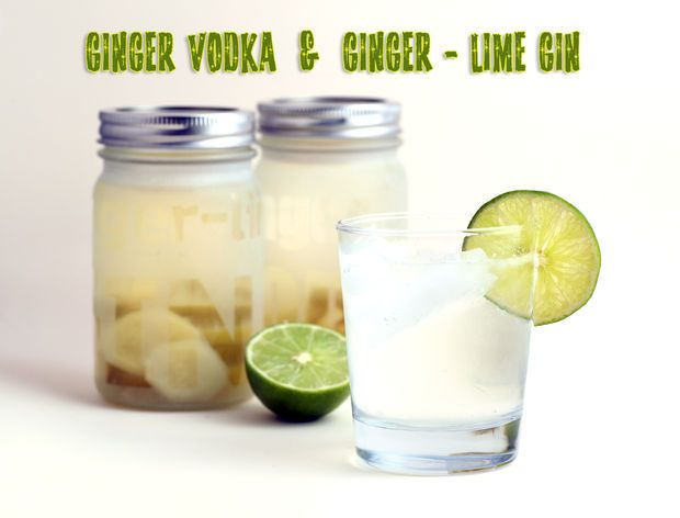 Ginger Vodka & Ginger Lime Gin in Etched Glass Gift Jars #recipe # ...