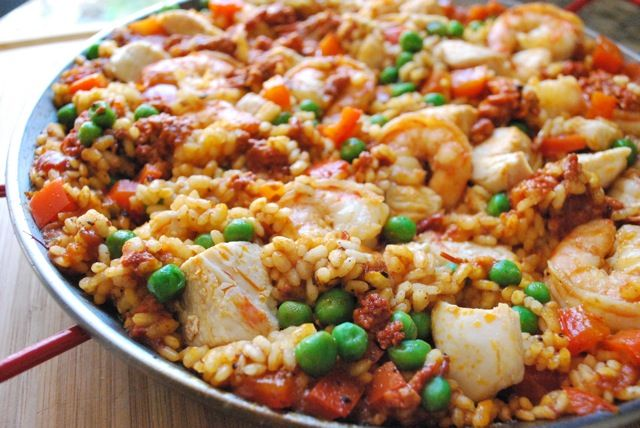 Traditional Paella with chicken, chorizo and shrimp.