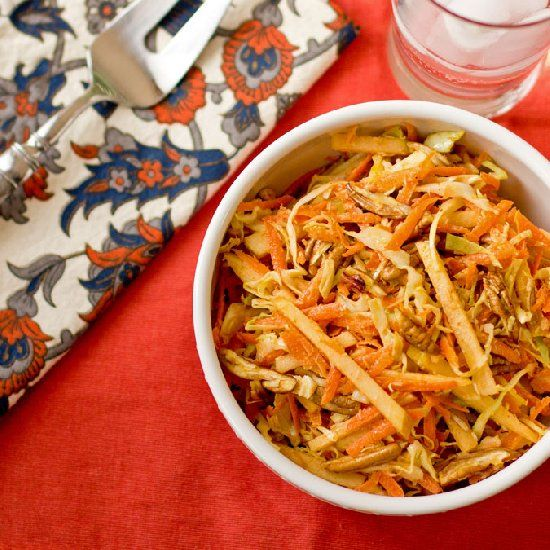 Apple, Carrot and Pecan Slaw with coconut and a curry dressing