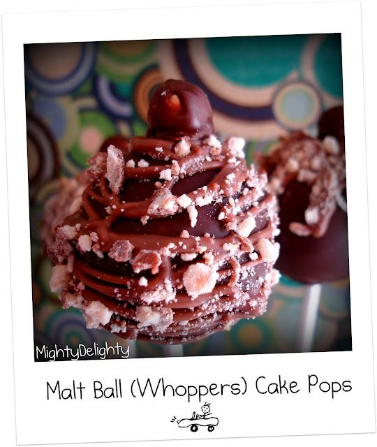Malt Ball Cake Pops (Whoppers) ~ from Mighty Delighty.