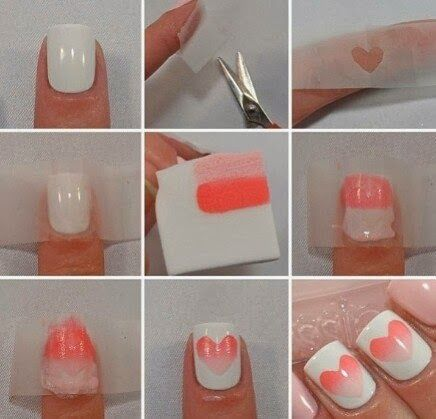 Heart gradient nails Tutorial. love! Great for Valentines day too!