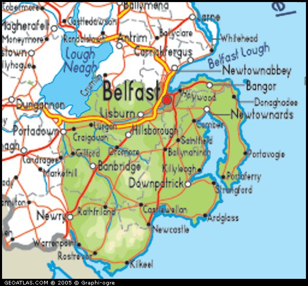 County Map of Northern Ireland County Down Northern Ireland