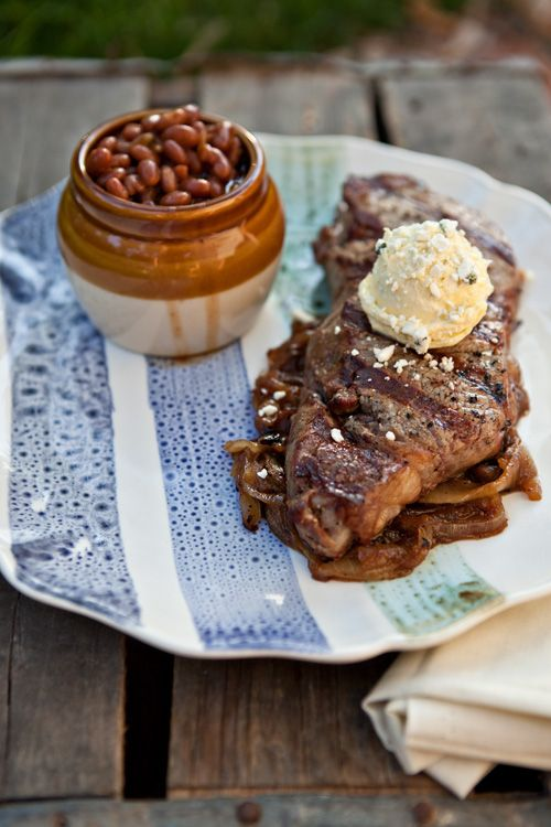 Grilled Blue Cheese Buttered Steak with Bourbon Caramelized Onions via @Shaina Olmanson   Food for My Family