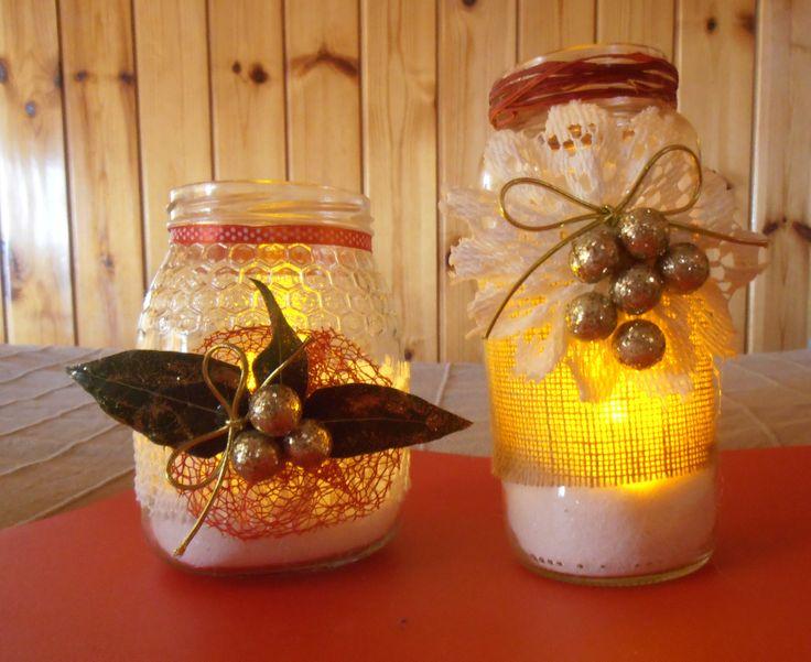 Frascos con decoraci n navide a y velas diferente for Decoracion navidena